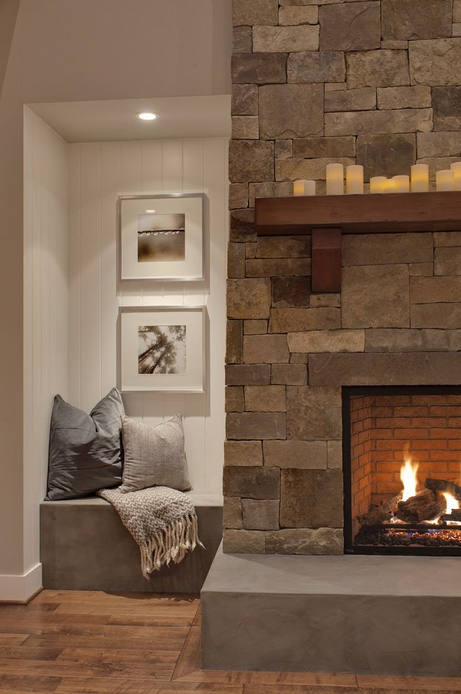 Stone Benches for Sale with Transitional Family Room Also Art Bead Board Bench Seat Brick Concrete Hearth Fireplace Pillows Recessed Light Stone Facade Tongue and Groove White Walls Wood Floor Wood Mantle