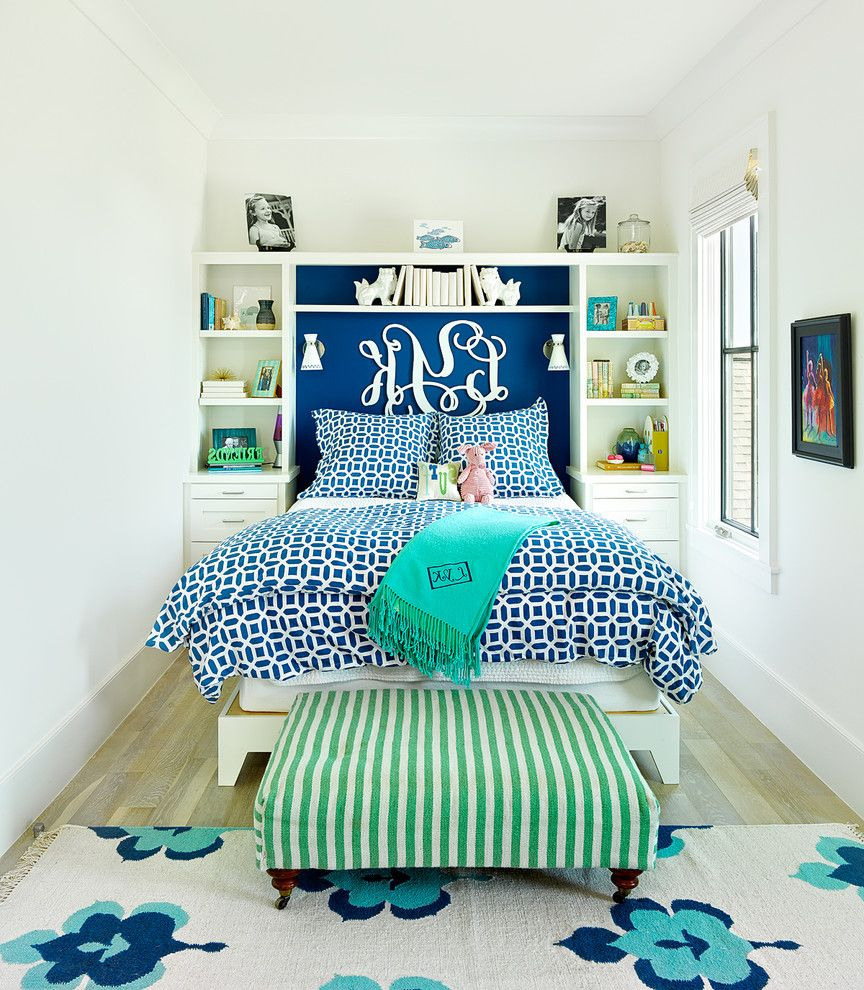 Storage Units Dalton Ga   Beach Style Kids Also Blue and White Bedding Built in Cabinets Narrow Bedroom Striped Ottoman Turquoise Throw Wall Sconces White Trim