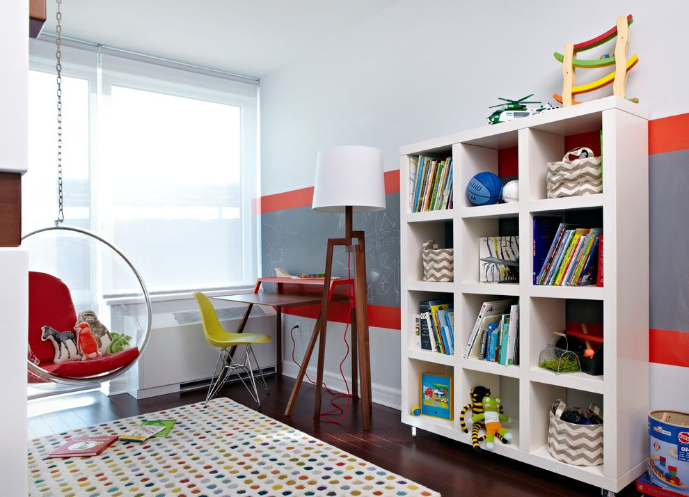 Storage Units Dalton Ga with Contemporary Kids Also Boys Bedroom Chalkboard Paint Colorful Accents Colorful Rug Dark Wood Floor Eames Molded Plastic Chair Gray and Red Stripe Hanging Bubble Chair Modern Furniture Playful Bedroom Roller Shades