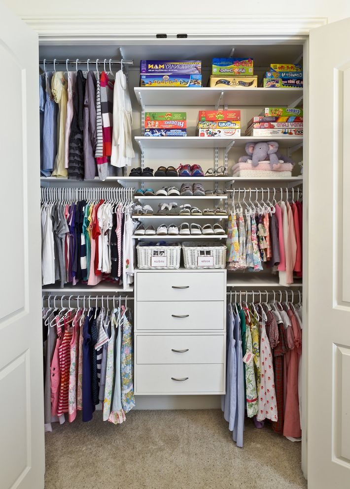 The Container Store Closet Systems   Contemporary Closet  and Adjustable Shelving Carpeting Childrens Clothing Drawers Kids Hangers Shoes Smal Hangers Toy Storage White Painted Wood