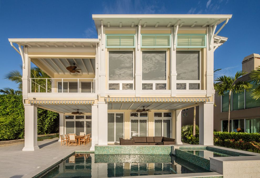 The Porch Key West with Beach Style Exterior Also Awning Balcony Beam Cable Rail Deck Dock Exposed Wood Beams Fan Key West Outriggers Pavers Pool Pool Tile Shutters Spa Terrace Tropical Fan Waterfront