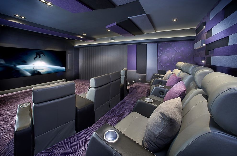 Theaters in Winchester Va with Contemporary Home Theater  and Big Screen Custom Home Theater Leather Seats Led Lighting Plasma Purple Wallpaper Stair Lighting