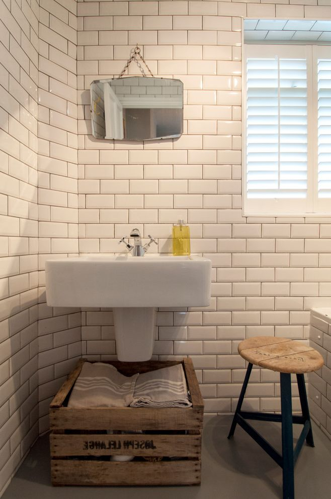 Tile Shop Coon Rapids   Eclectic Bathroom  and Crate Storage Louvered Shutters Small Mirror Stool