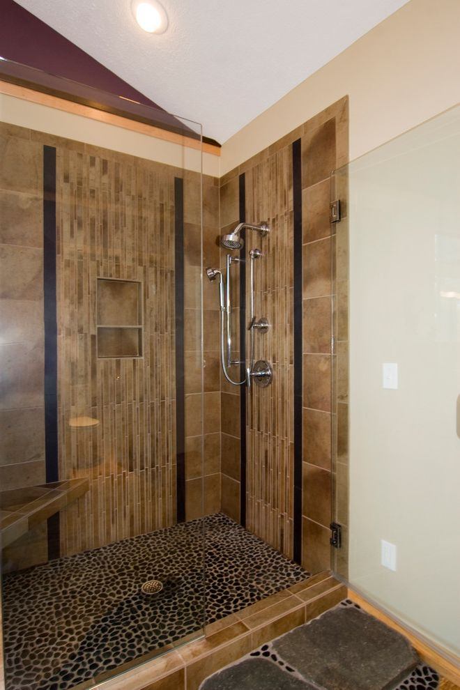 Tile Shop Coon Rapids with Asian Bathroom  and Bamboo Glass Shower Nature Pebbles Relaxation Shower Spa Retreat