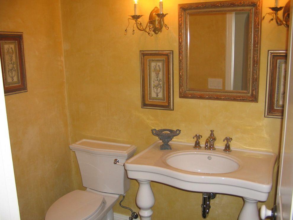 Toto Clayton Toilet   Mediterranean Powder Room  and Console Sink Faux Finish Guest Bath Powder Room Sconces Vintage Artwork Vintage Mirror