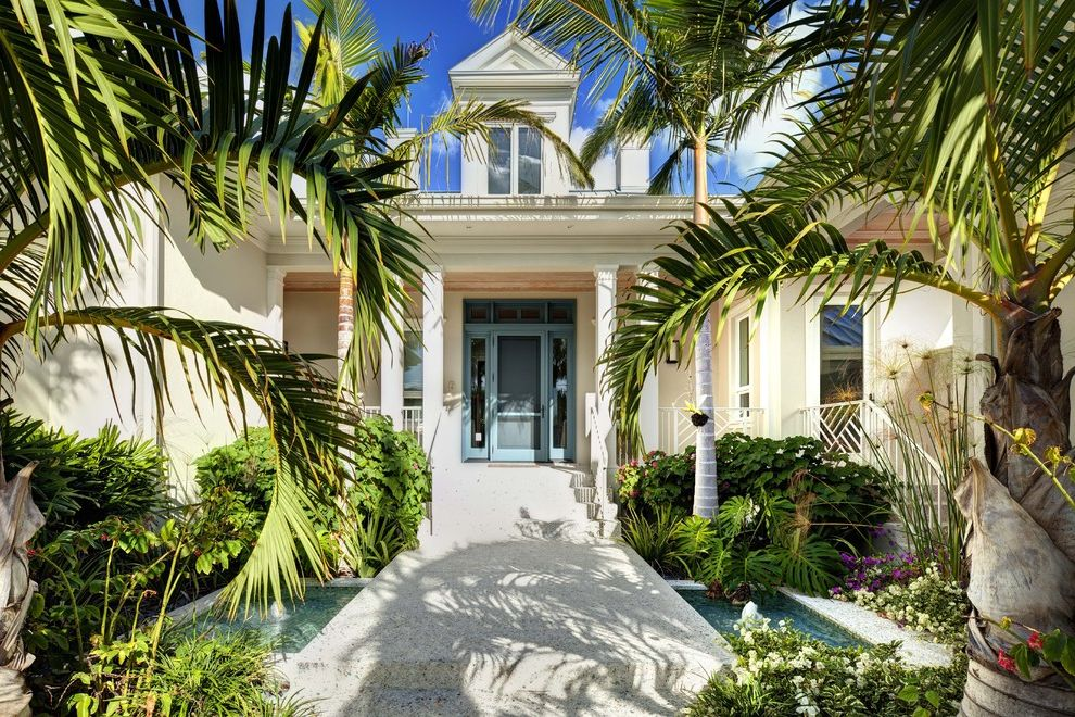 Valspar Reserve Reviews   Tropical Entry Also Blue Front Door Columns Entry Front Door Landscaping Palm Trees Path Porch Tropical Walkway Water Feature