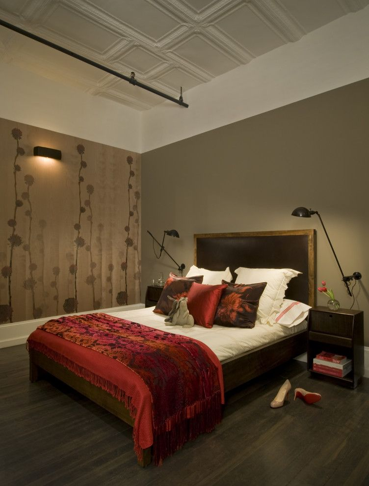 Valspar Reserve Reviews with Industrial Bedroom Also Accent Wall Bed Floral Pattern Fond Wall Reading Light Red Pillows Red Throw Throw Wall Mount Lamp Wallcoverings Wallpaper Wood and Leather Bed Wood Side Table