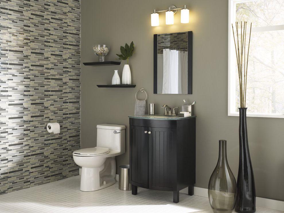 Valspar Reserve Reviews with Modern Bathroom  and Bathroom Bathroom Lighting Black Vanity Contemporary Bathroom Gray Walls Small Bathroom Three Light Sconce Tile Tile Floor Tile Wall