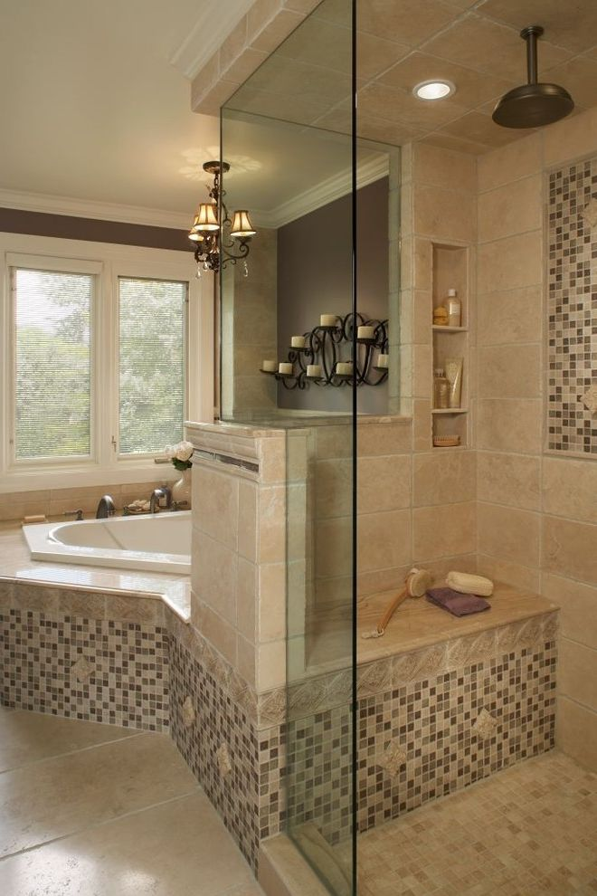 Valspar Reserve Reviews with Traditional Bathroom  and Accent Tile Accent Wall Built Ins Candle Holders Candles Frameless Shower Glass Shower Door Glass Tile Mosaic Tile Neutral Colors Sconce Shower Bench Shower Shelves Soaking Tub Wall Lighting
