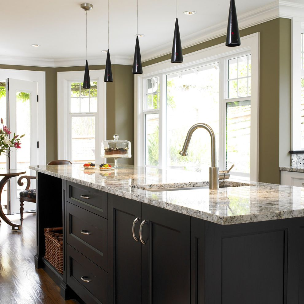 Valspar Reserve Reviews with Transitional Kitchen  and Ceiling Lighting Crown Molding Eat in Kitchen Glass Cloche Jar Granite Countertops Island Lighting Kitchen Island Olive Green Walls Pendant Lighting Recessed Lighting Wicker Basket Wood Flooring