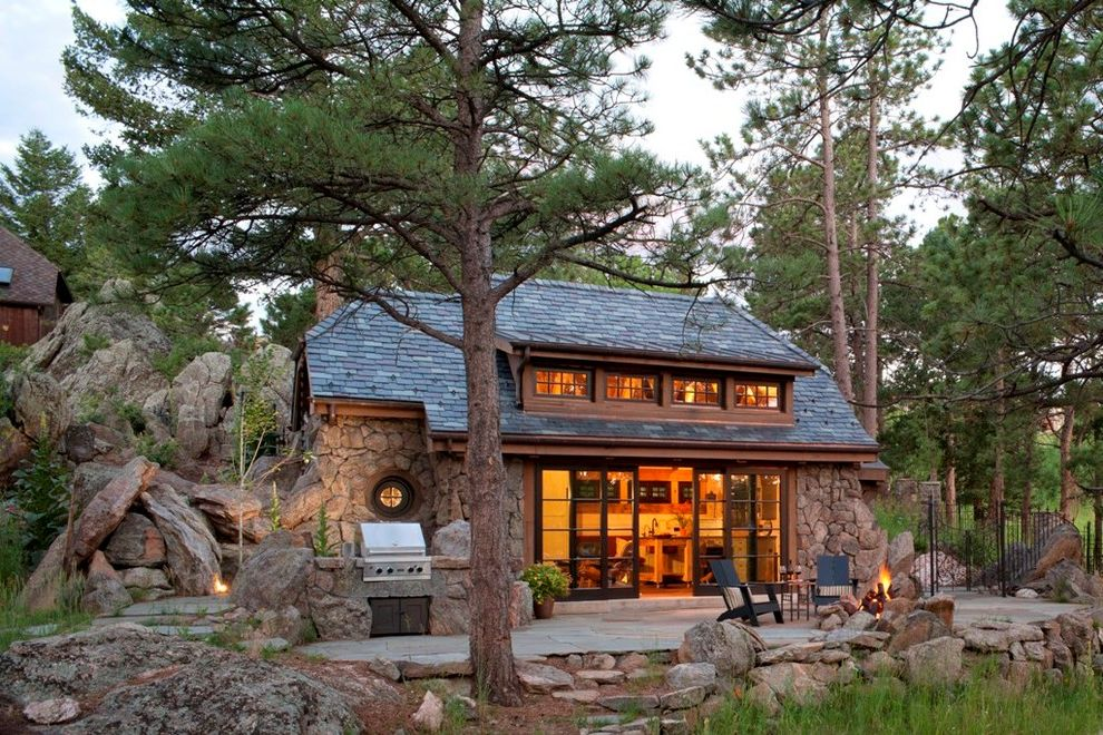 What Are Architectural Shingles with Rustic Exterior  and Adirondack Chairs Bbq Bifolding Glass Door Boulders Cottage Covered Grill Cozy Mountain Patio Porthole Window Round Window Shed Dormer Shingle Roof