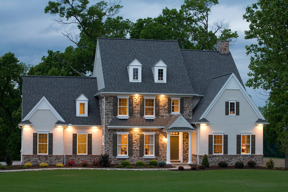 What Are Architectural Shingles with Traditional Exterior Also Brick Chimney Chimney Farmhouse French Window Front Door Front Entrance Gable Roof Green Front Door Green Shutters Lawn Outdoor Light Shutters Stone