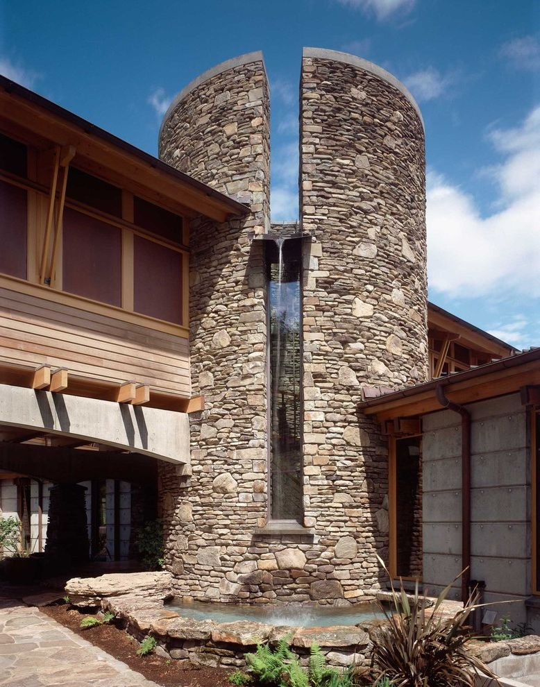 What is Kilz Used for with Contemporary Exterior  and Concrete Corbels Flagstone Path Fountain Landscaping Rafter Tails Stone Facade Stone Wall Tower Water Feature Wood Siding