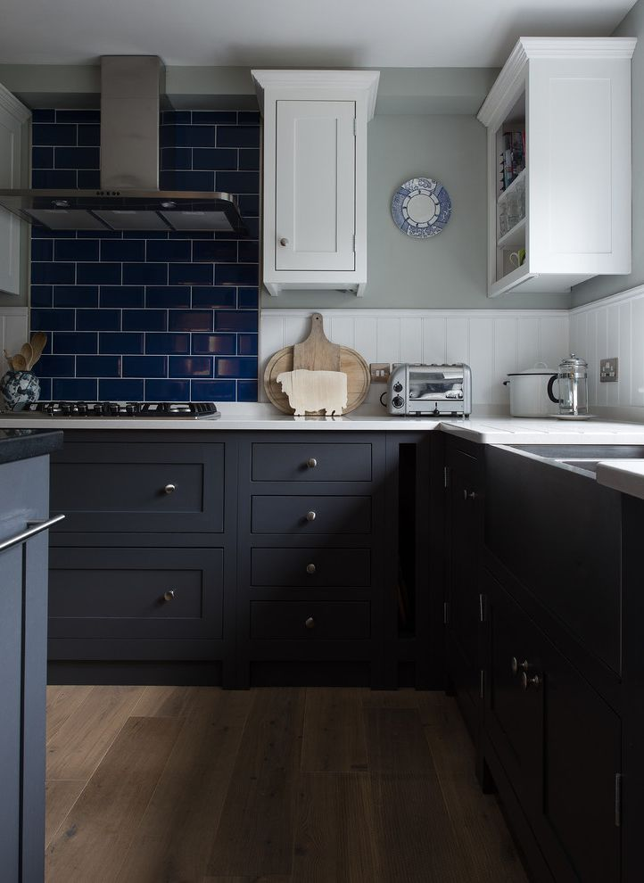 What is Kilz Used for with Traditional Kitchen  and Blue Kitchen Blue Splashback Charcoal Dark Kitchen Kitchen Island Rustic Shaker Shaker Style Tiles Traditional