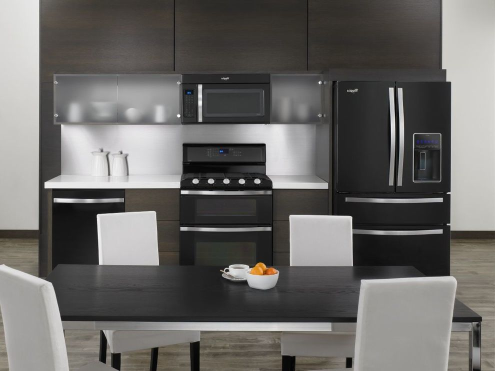 Whirlpool Gold Series Dishwasher Reviews with Modern Kitchen  and Appliances Black and White Kitchen Black Appliance Frameless Cabinet Gray Wood Floors Whirlpool White Counter White Counters