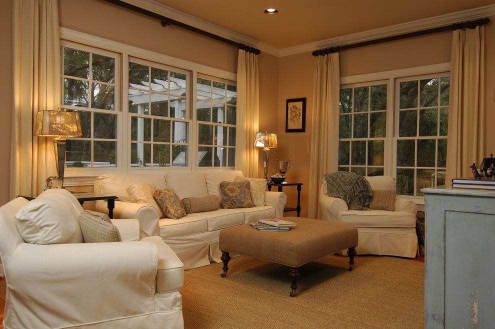White Slip Covered Sofa   Traditional Family Room Also Traditional