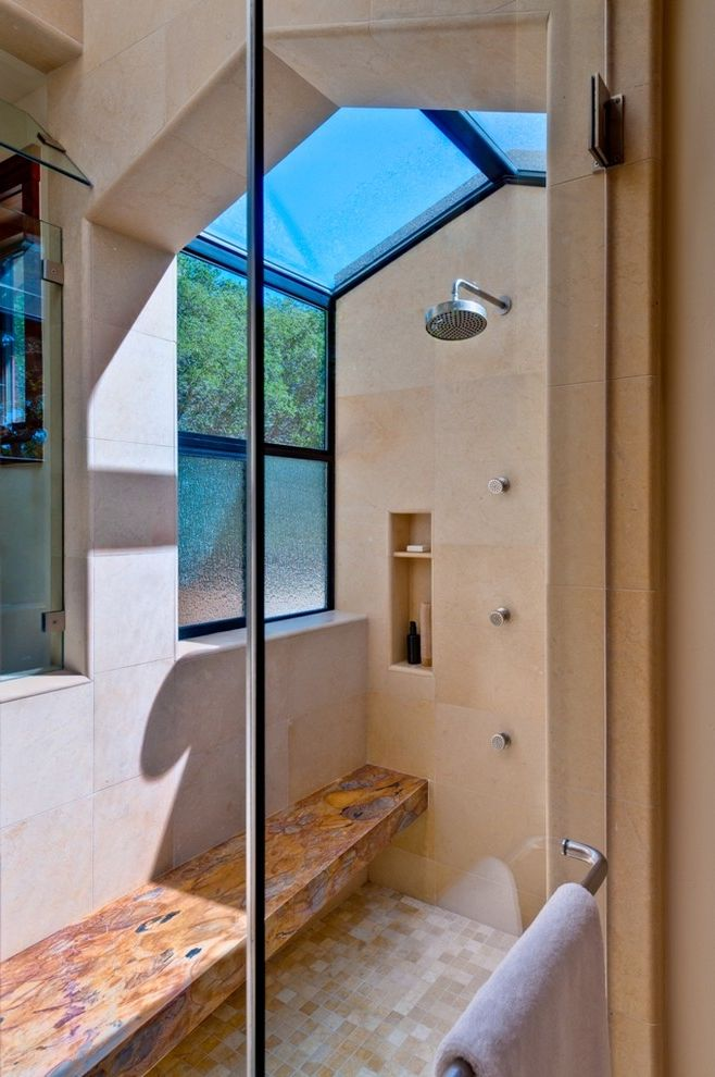 Window Tinting Decatur Al   Contemporary Bathroom  and Clear Glass Shower Door Glass Stone Master Bath Portola Valley Shower Shower Bench Shower Niche Skylight Square Tiles Stone Bench Tile Floor Tile Walls Translucent Glass Wavy Glass