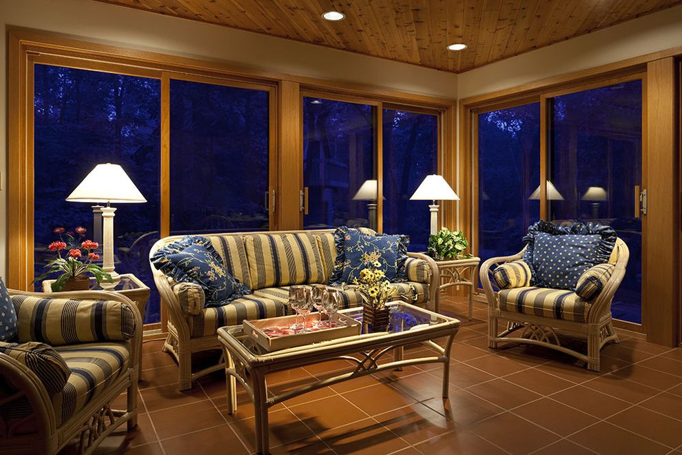 Window Tinting Decatur Al with Traditional Sunroom Also Ceiling Lighting Decorative Pillows Floral Glass Coffee Table Glass Doors Recessed Lighting Sliding Doors Stripes Sunroom Throw Pillows Tile Flooring Wood Ceiling