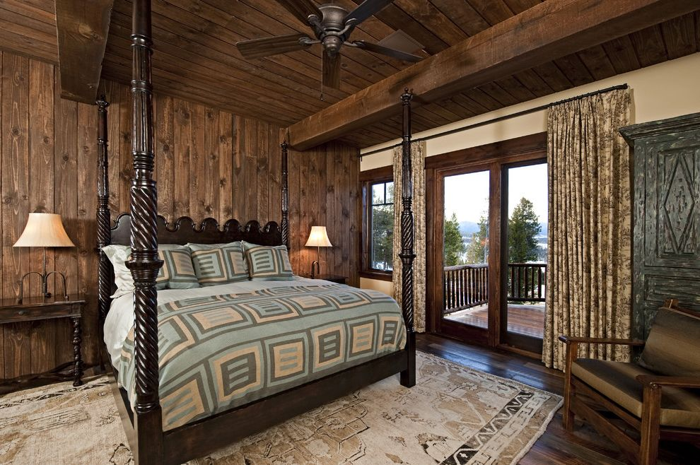 Window Treatments for Sliders   Rustic Bedroom Also Area Rug Bedside Table Cabin Ceiling Fan Curtains Drapes Exposed Beams Four Poster Bed Nightstand Rustic Sliding Glass Doors Window Treatments Wood Ceiling Wood Flooring Wood Paneling Wood Trim