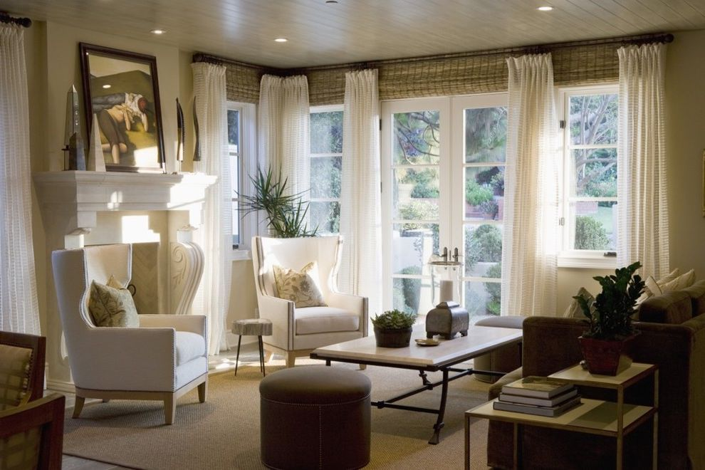 Window Treatments for Sliders with Traditional Living Room Also Armchair Coffee Table Fireplace Ottoman Rug Side Table Sisal Rug White Armchair