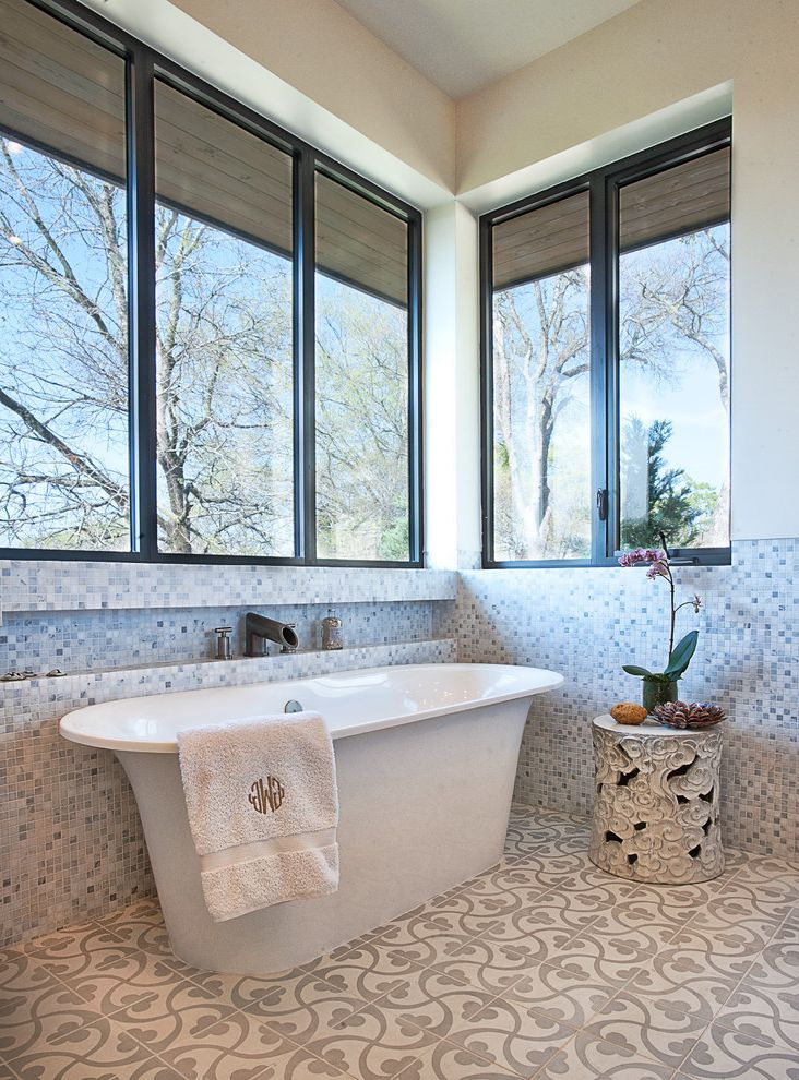 Winnelson Plumbing Supply with Transitional Bathroom  and Bathroom Tile Floor Tile Freestanding Bathtub Garden Stool Inset Shelf Monogram Towel Mosaic Tile Orchid Tile Pattern