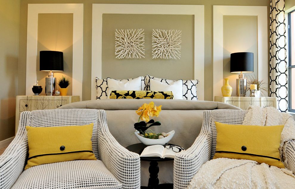 Z Gallerie Near Me with Contemporary Bedroom Also Artwork Beige Black Bold Mouldings Night Stands Pillows Printed Curtains Side Table Silver Table Lamps Wall Details White White Painted Trim Yellow