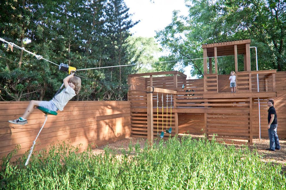 Zip Line Austin   Traditional Landscape  and Backyard Jungle Gym Kids Kids Playground Landscape Architecture Landscaping Playground Playhouse Playset Rope Swingset Tall Grass Wood Fence Wood Playground Zip Line