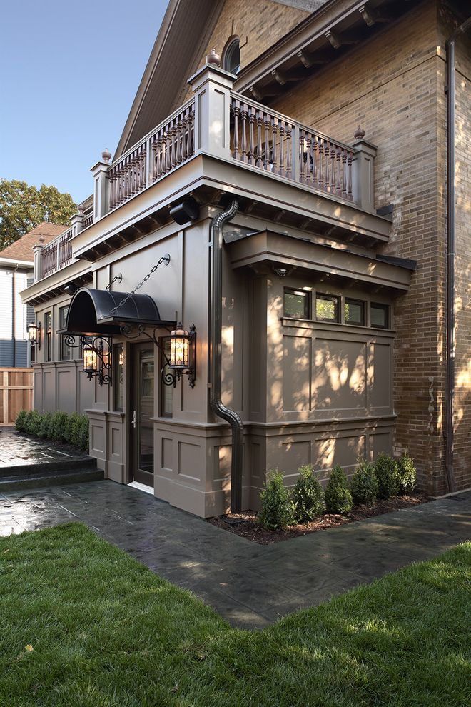 Awning in a Box   Traditional Exterior  and Awning Balcony Brick House Clerestory Grass Lanterns Lawn Outdoor Lighting Path Planter Roof Terrace Turf Walkway
