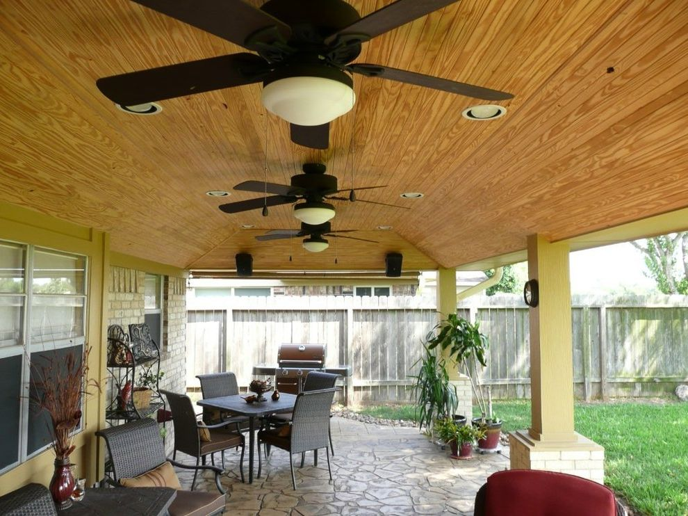 Carports Houston Tx with Rustic Patio Also Beadboard Ceiling Covered Patio Indoor Outdoor Living Natural Outdoor Dining Patio Cover Stained Concrete Stamped Concrete Vaulted Ceilings
