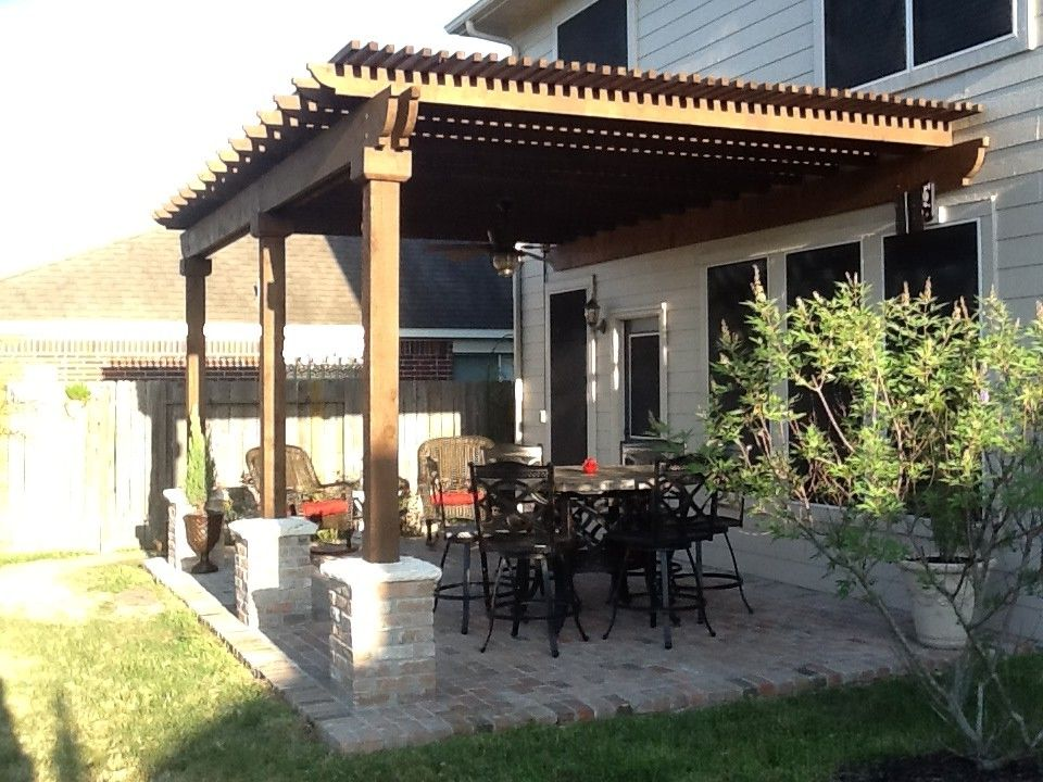 Carports Houston Tx with Traditional Patio  and Brick Patio Cedar Arbor Outdoor Dining Pergola