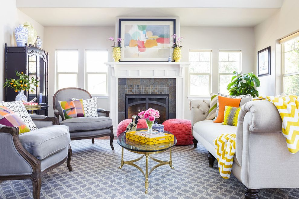 Coral Colored Throws   Contemporary Living Room Also Accent Color Bright Living Room Colorful Fresh Design Gray Chair Gray Rug Living Room