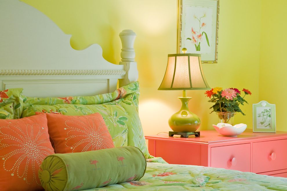 Coral Colored Throws   Eclectic Bedroom Also Carved Headboard Colorful Green Bedding Pink Dresser Throw Pillows White Headboard Yellow Walls