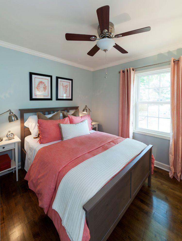 Coral Colored Throws with Beach Style Bedroom Also Blue Walls Burlap Pillows Coral Artwork Coral Bedding Coral Stripe Drapes Grey Wash Bed Hardwood Flooring Pharmacy Table Lamps White End Tables White Knit Throw Wood Floors
