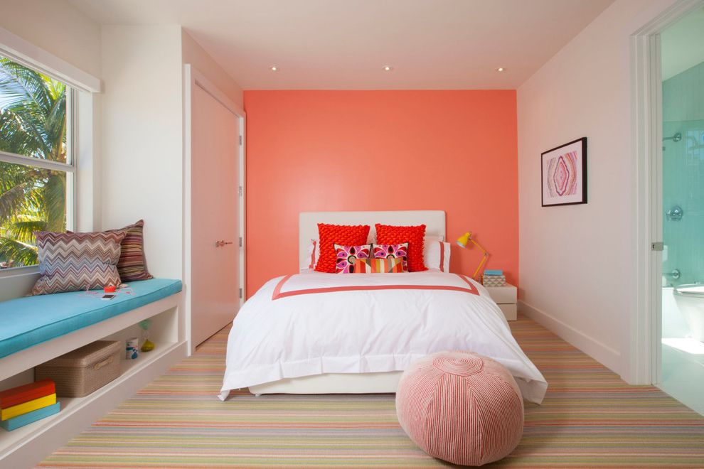 Coral Colored Throws with Contemporary Kids  and Built in Bench Chevron Pillow Decorative Throw Pillows Pouf Recessed Lighting Red Pillows Salmon Accent Wall Striped Carpet Striped Pillow Window Seat Yellow Task Lamp