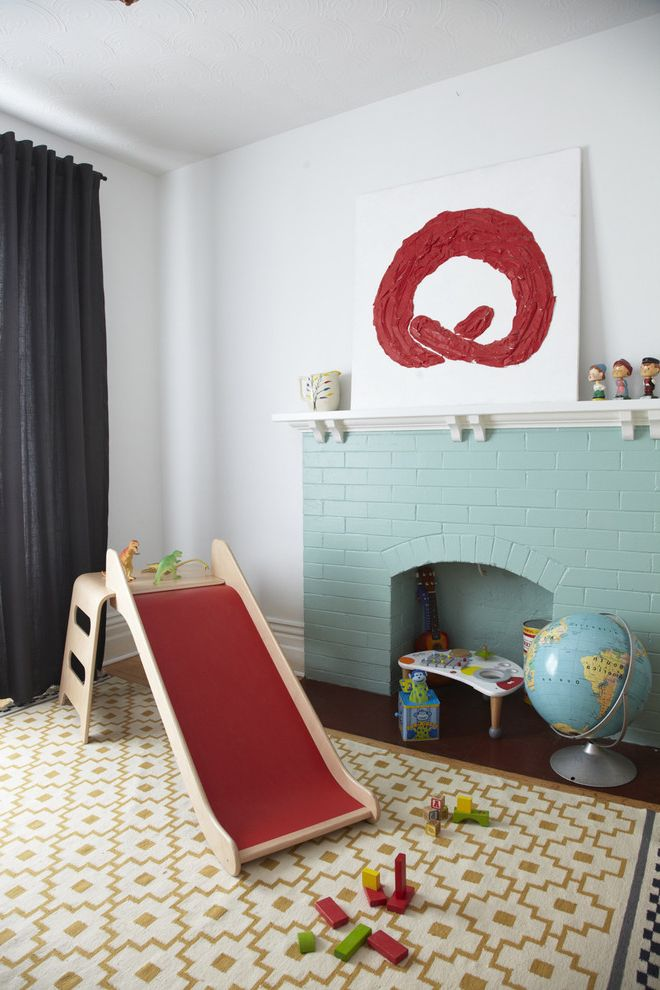 C&s Nursery   Scandinavian Kids  and Art Art Above Fireplace Black Curtain Brick Fireplace Curtain Fireplace Globe Modern Painted Brick Playroom Rug Slide Window Treatment
