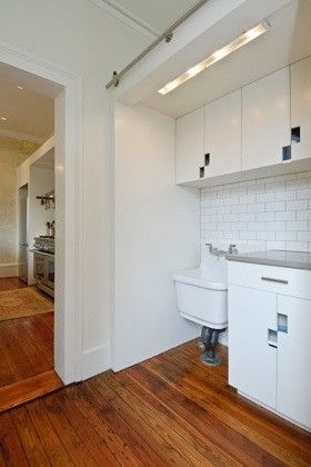 David Thompson Architect   Contemporary Laundry Room  and Cabinets Green Kitchen Laundry Mud Room Sliding Doors Tile White