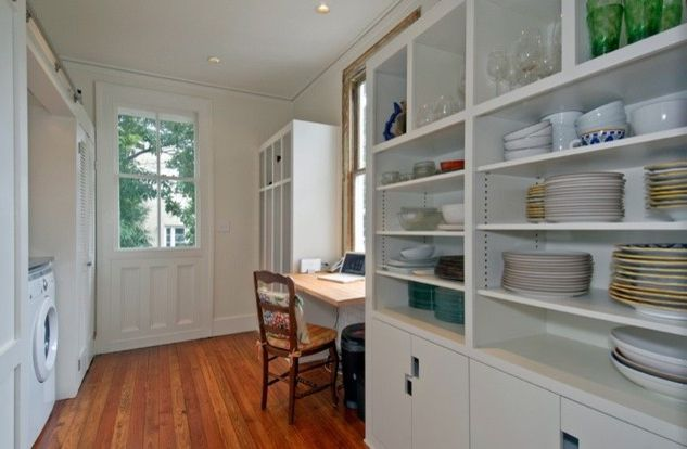 David Thompson Architect with Contemporary Laundry Room  and Cabinets Green Kitchen Laundry Mud Room Sliding Doors Tile White