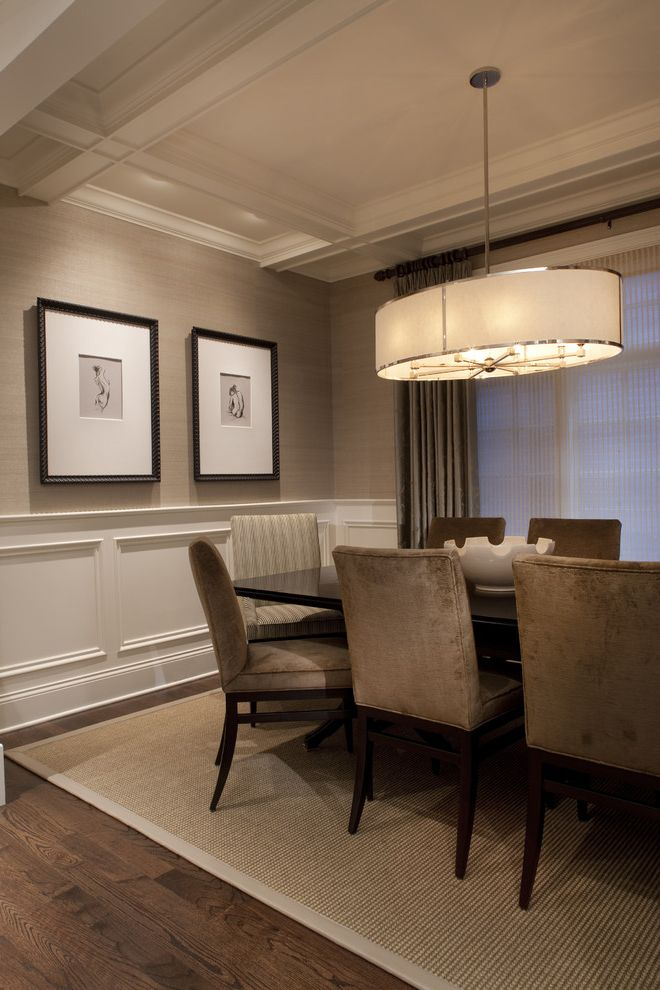 Dining Room Drapes Ideas with Traditional Dining Room  and Beige Black Brown Coffered Ceiling Formal Frame Painted Wood Raised Panel Sisal Upholstered Wainscot Wallpaper Walnut White Window Treatment