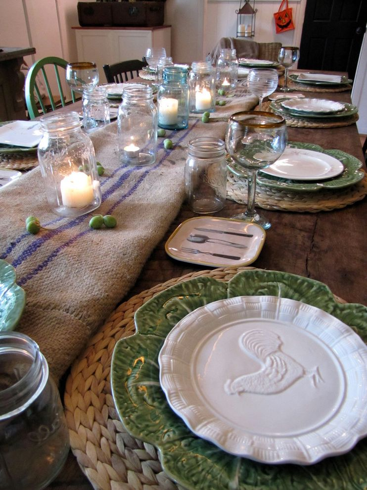 Dinner Plate Chargers   Eclectic Dining Room  and Bar Barn Wood Board and Batten Buffet Burlap Chalkboard Crown Molding Farmhouse Fireplace Hardwood Floors Suitcase Toile Vintage Wainscoting