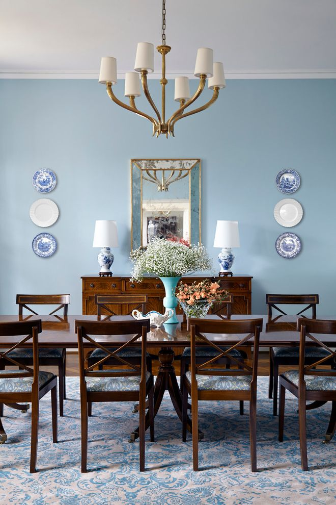Dinner Plate Chargers   Traditional Dining Room Also 1940s Apricot Asian Blue Blue Accents Blue and White Blue and White Rug Chinoiserie Chippendale Gold Neo Georgian Orange Oxidized Mirror Parquet Flooring Queen Anne Chair Sideboard William Morris