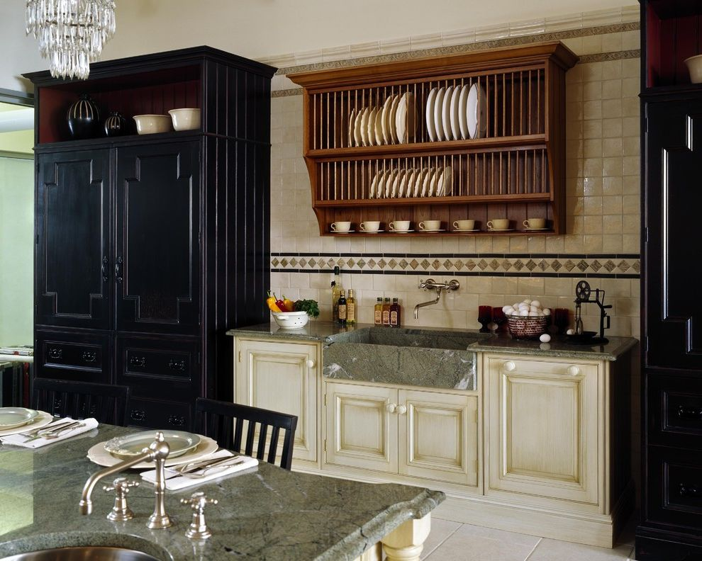 Dinner Plate Chargers   Traditional Kitchen  and Apron Sink Breakfast Bar Chandelier Eat in Kitchen Farmhouse Sink Kitchen Island Pantry Plate Racks Pot Filler Storage Tile Backsplash Tile Flooring Two Tone Cabinets White Cabinets