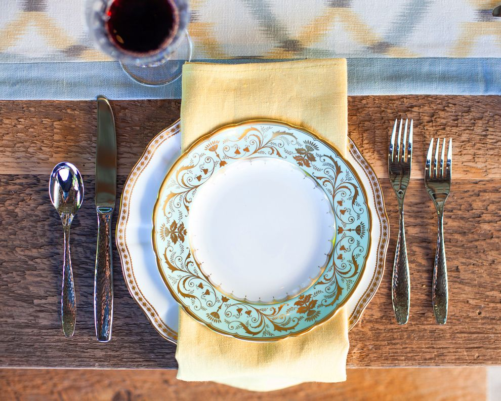 Dinner Plate Chargers with Traditional Dining Room Also Al Fresco Blue Border Cream Gold Grey Ikat Light Blue Linen Outdoor Dining Runner Table Decor Table Linens Table Runner Table Setting White Yellow
