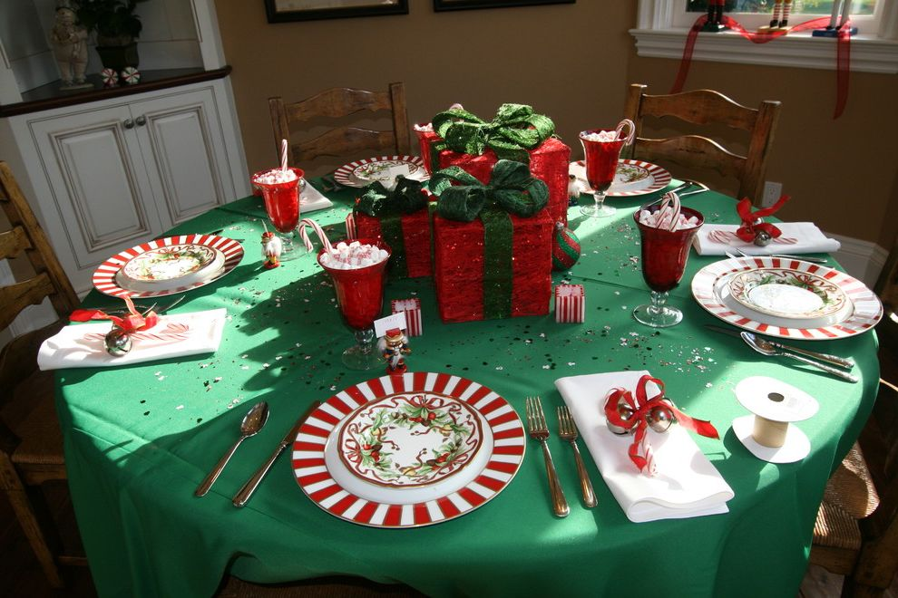 Dinner Plate Chargers with Traditional Dining Room  and Candy Cane Christmas Holidays Ladder Back Chairs Ladderback Chairs Place Setting Presents Tablecloth Tablescape Wood Dining Chairs