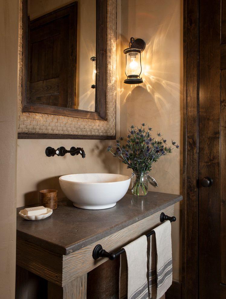 Dish Towel Sets   Rustic Powder Room  and Floral Arrangements Framed Wall Mirror Hand Towels Lantern Sconce Neutral Soap Dish Towel Bar Under Sink Vase