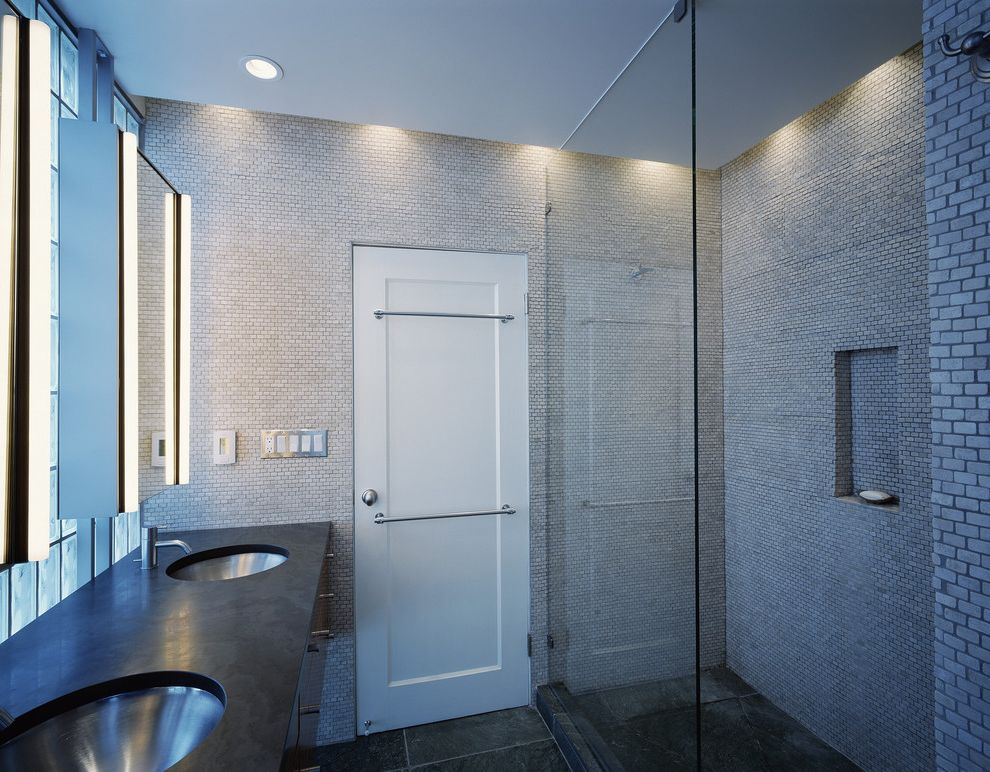 Dish Towel Sets with Modern Bathroom Also Bathroom Mirrors Ceiling Lighting Double Sinks Double Vanity Frameless Shower Glass Blocks Glass Shower Monochromatic Mosaic Tiles Recessed Lighting Stone Flooring Tile Walls