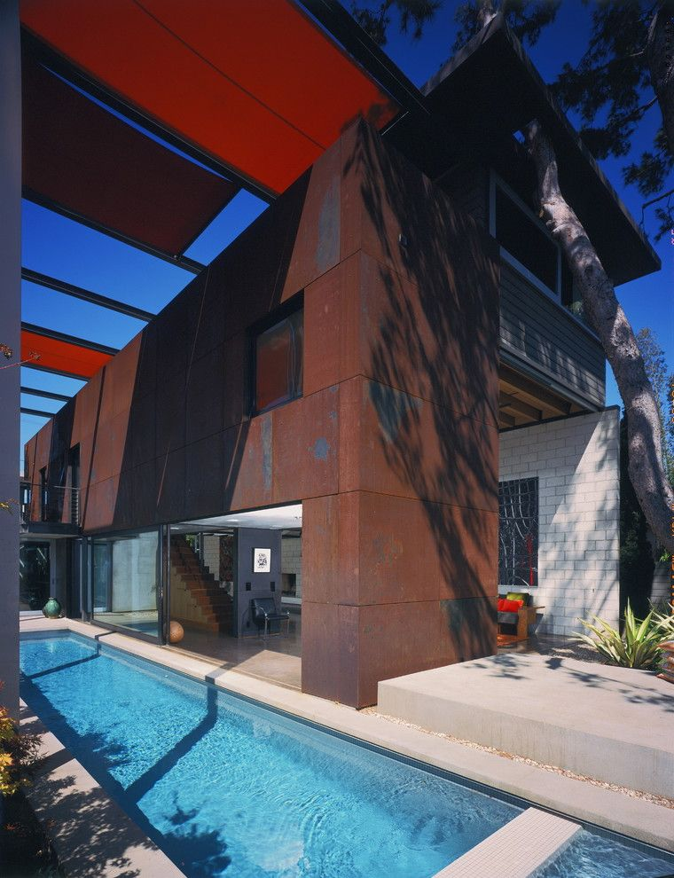 Edco Steel Siding with Industrial Exterior  and Corten Geometric Geometry Glass Doors Glass Wall Lap Pool Pool Shade Sails Sliding Doors Sliding Wall Steel