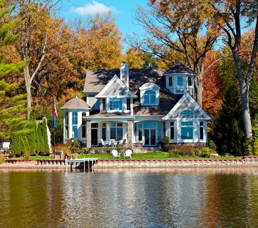 High Style Rentals   Victorian Exterior  and Adirondack Chair Award Winning Boston Cape Cod Dock Dormer Flag Patio Hampton Homeplan House Plans Lake Nantucket New England Pediment Porch Shingle Style Stone Style Turret Waterfront
