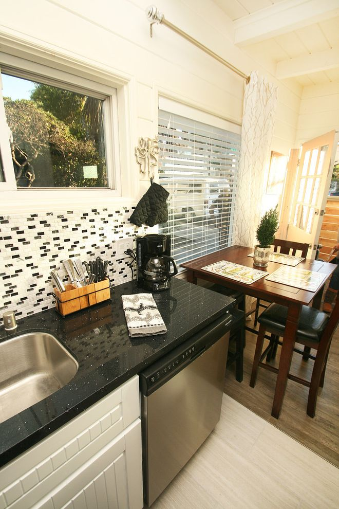 High Style Rentals with Beach Style Kitchen  and Beach Black and White Contemporary Decor Design Gray Laminate Neutral Transitional Vacation