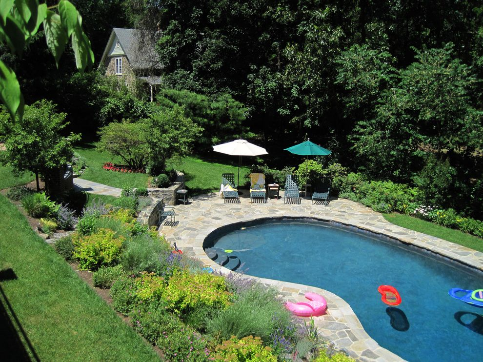 How to Build a Deck Around a Pool   Traditional Pool  and Flagstone Flowers Garden Kidney Shaped Pool Lawn Lounge Chairs Natural Stone Patio Naturalistic Plantings Patio Pool Stone House Stone Wall Swimming Pool Umbrella