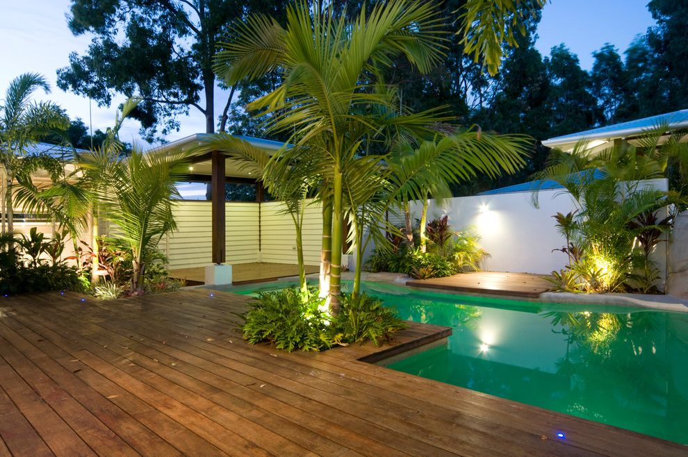 How to Build a Deck Around a Pool   Tropical Pool Also Covered Patio Deck to Pool Landscape Lighting Landscaping Outdoor Entertaining Planting Beds Shaped Concrete Tropical Plants White Stucco Garden Wall Wood Deck